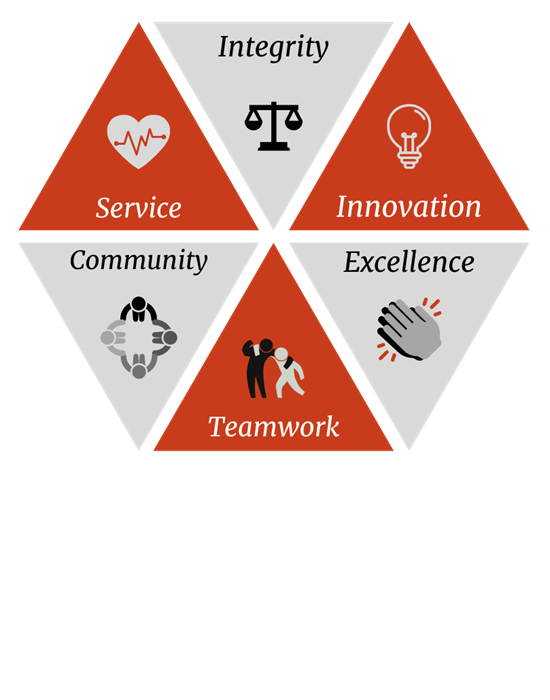 Core Values Image - Integrity, Innovation, Excellence, Teamwork, Community, Service